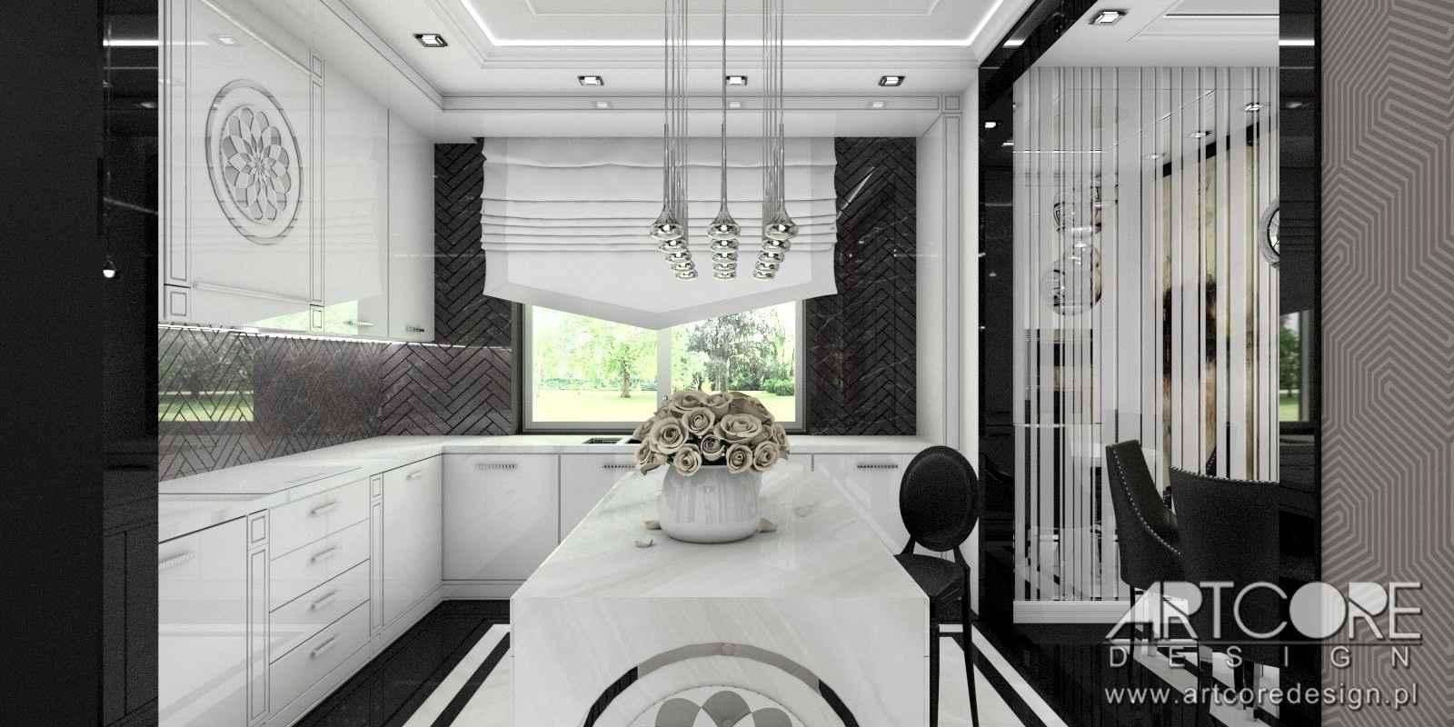 projektant wnętrz kraków czarno biała kuchnia