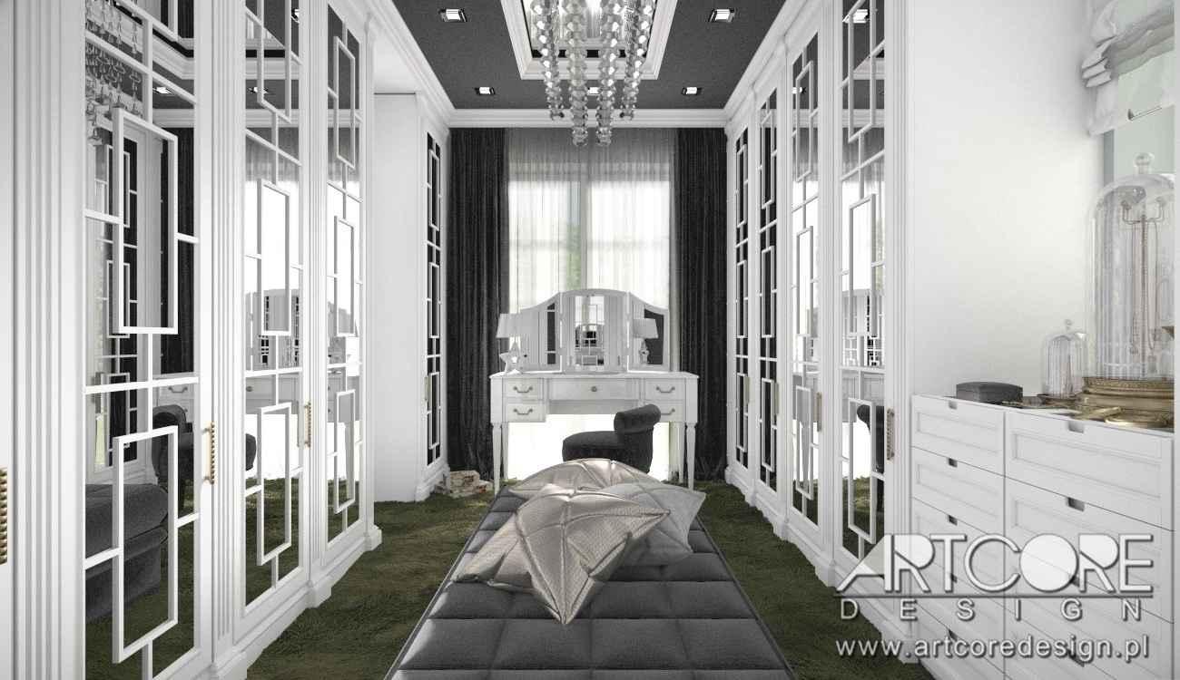 wnętrze luksusowej garderoby w krakowie