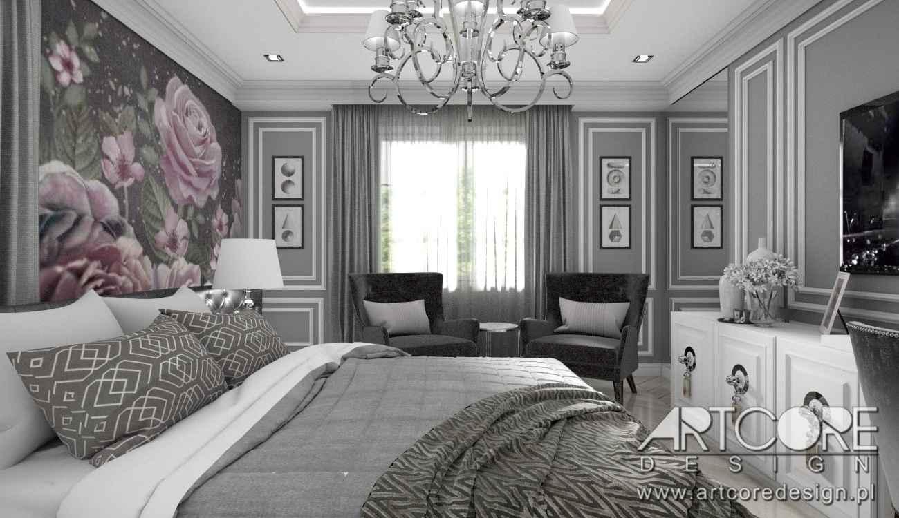 luksusowa sypialnia we wnętrzu krakowskiego domu
