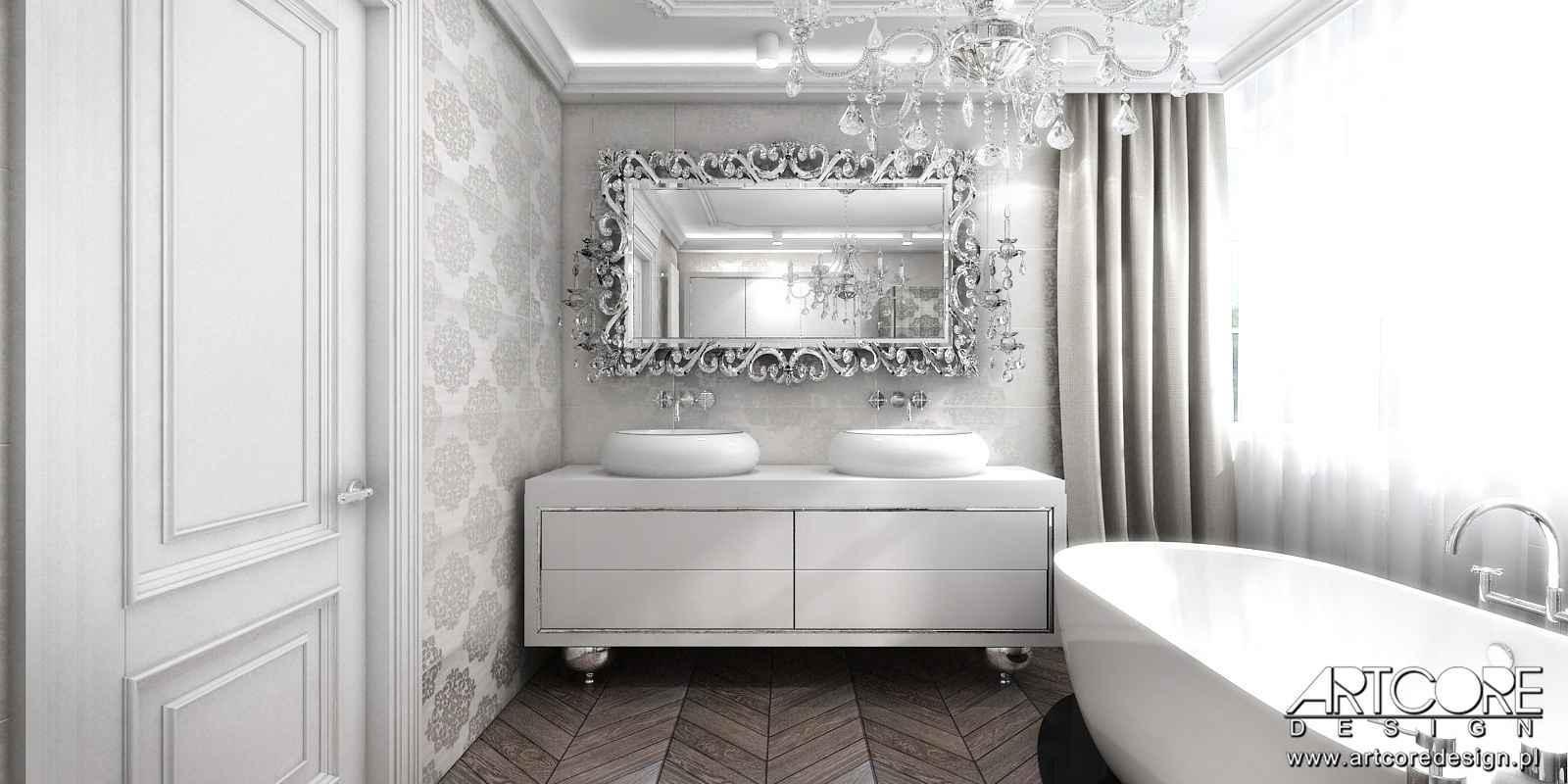 wystroj projektowanego wnętrza klasycznej łazienki w krakowie