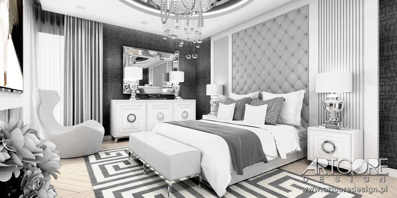 projekt wnętrza domu luksusowa sypialnia glamour