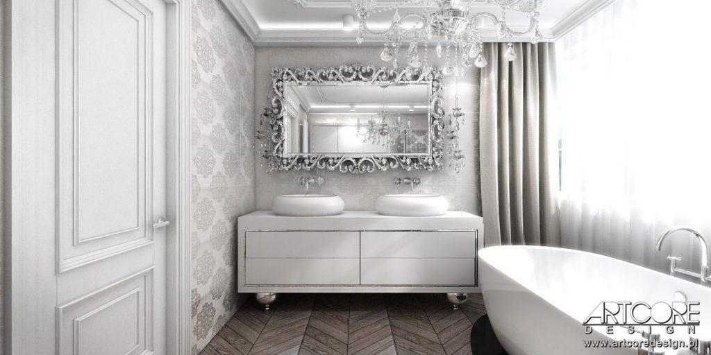 projektowanie wnętrz kraków łazienka glamour stylowe wnętrze